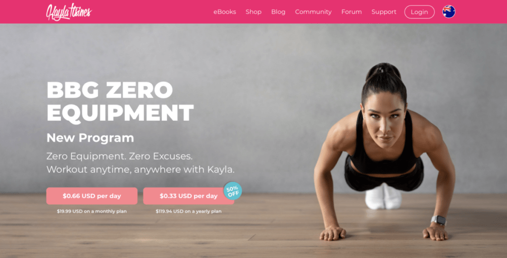 Kayla Itsines - homepage