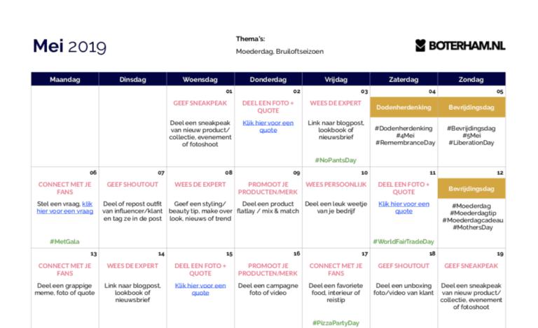 Voorbeeld Fashion Content Kalender