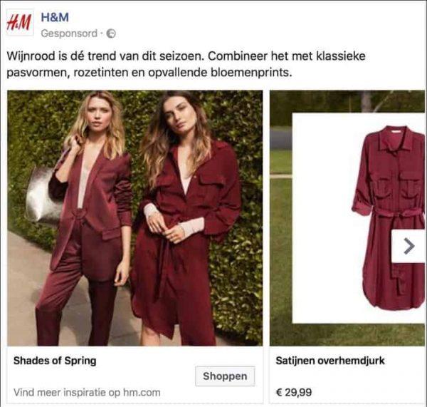 voorbeeld van facebook betaald adverteren door hm fashion