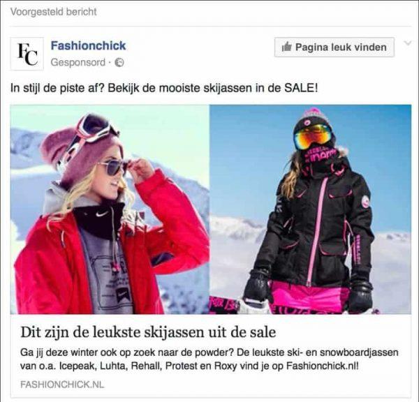 voorbeeld facebook gesponsorde advertentie van het fashionmerk fashionchick