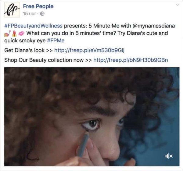 voorbeeld facebook social media post van freepeople fashion