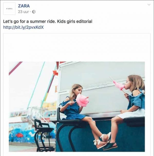 voorbeeld facebook social media post zara fashion