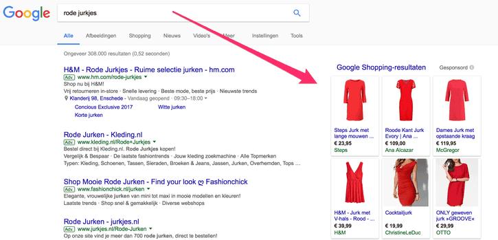 google shopping resultaten rode jurkje voorbeeld 2