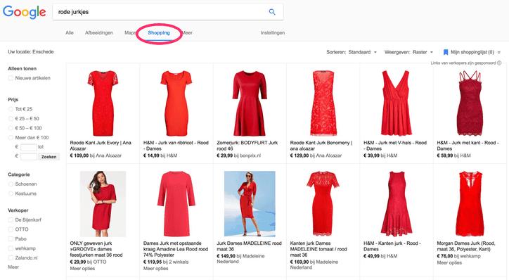 google shopping voorbeeld van rode jurkjes