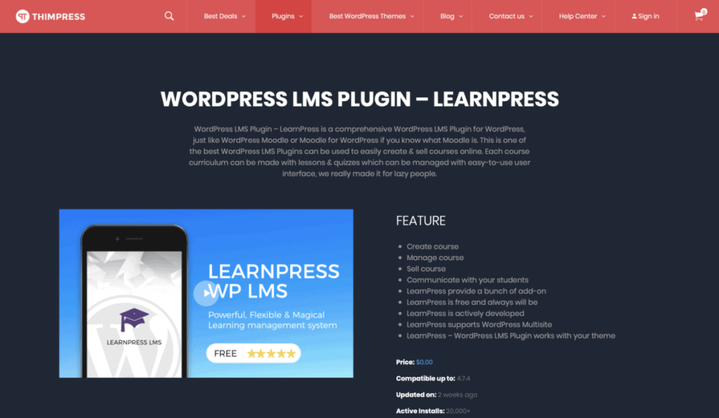 homepage LearnPress