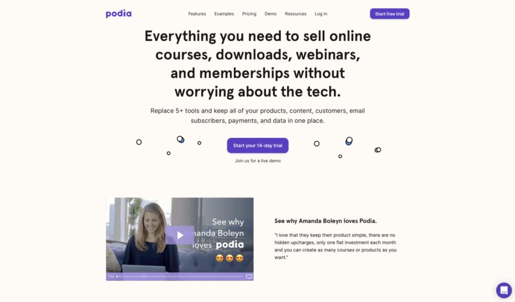 homepage Podia
