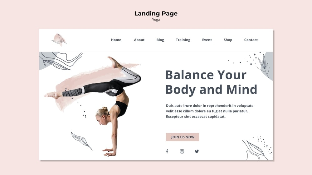 landingspagina yoga website