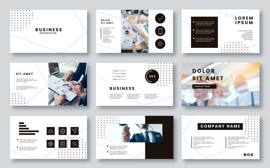 presentatie slides zwart wit