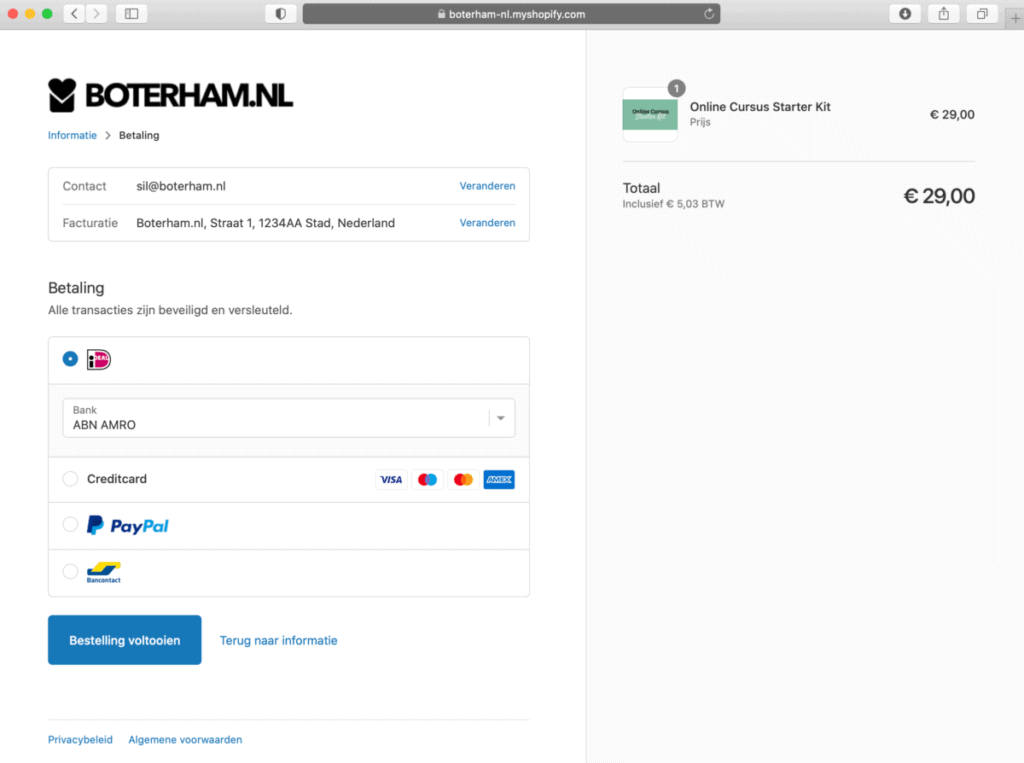 Shopify afrekenpagina voorbeeld van afrekenen Thinkific cursus