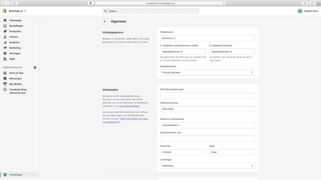 Shopify algemene webwinkel instellingen