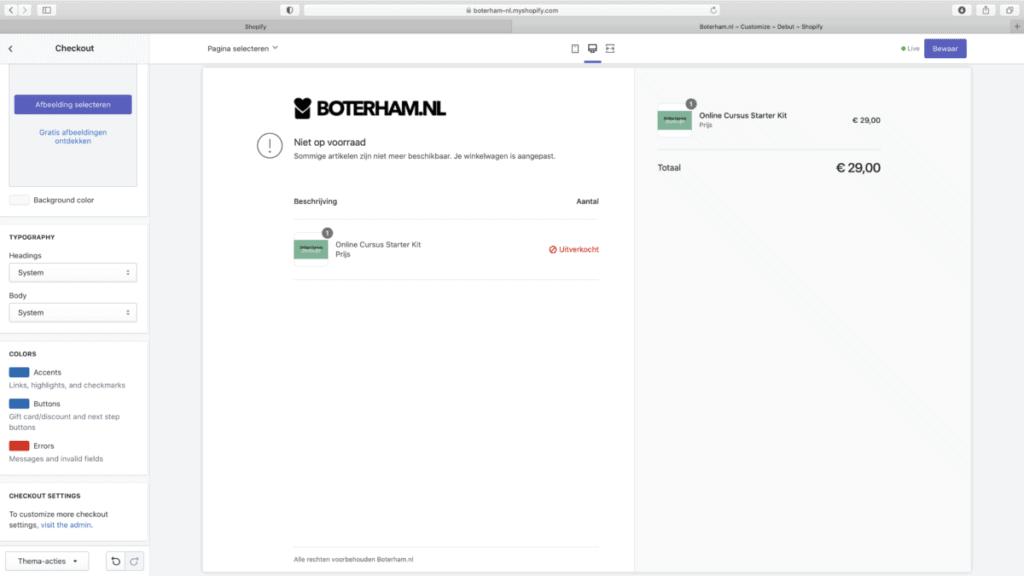 Shopify checkout layout instellingen