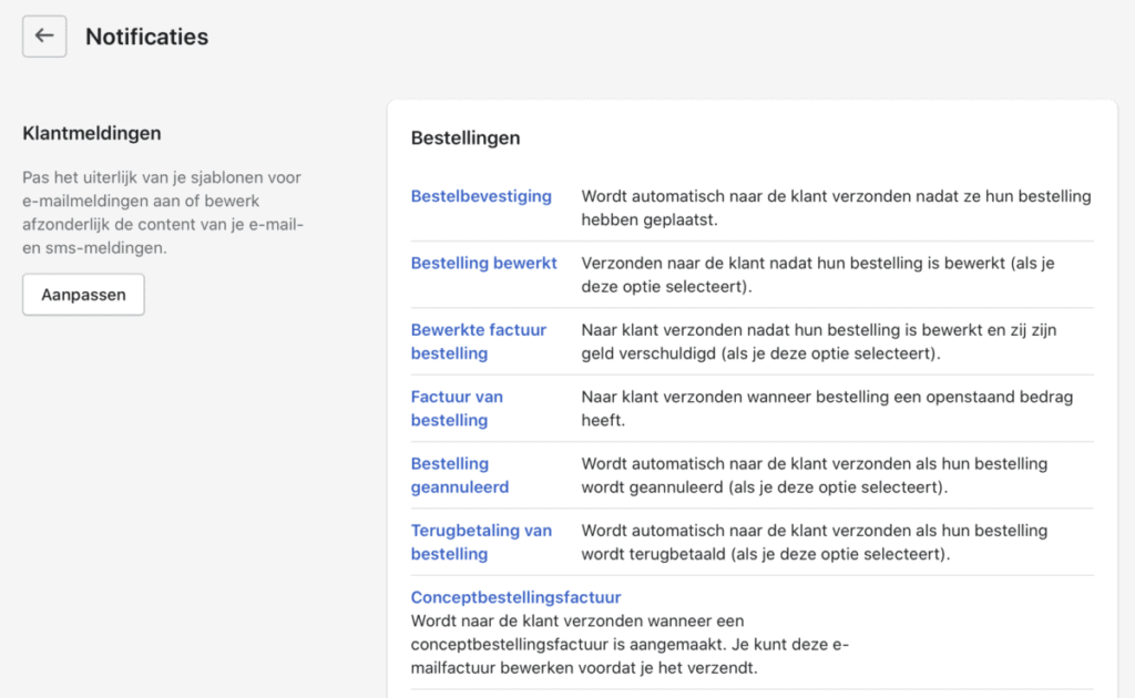 Shopify notificatie instellingen overzicht