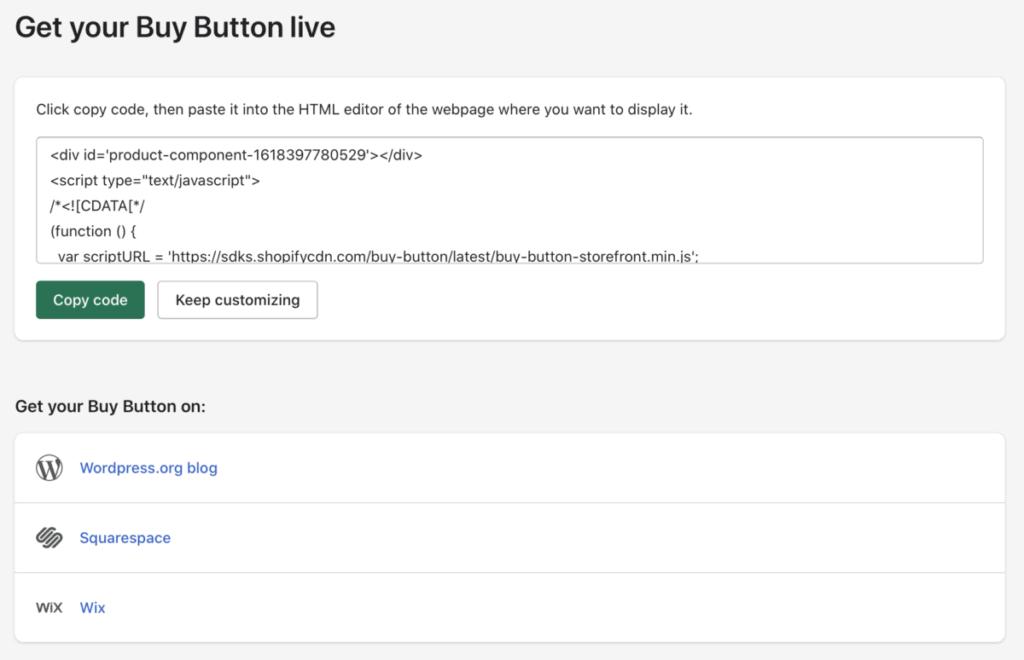 Shopify koopknop embed code scherm