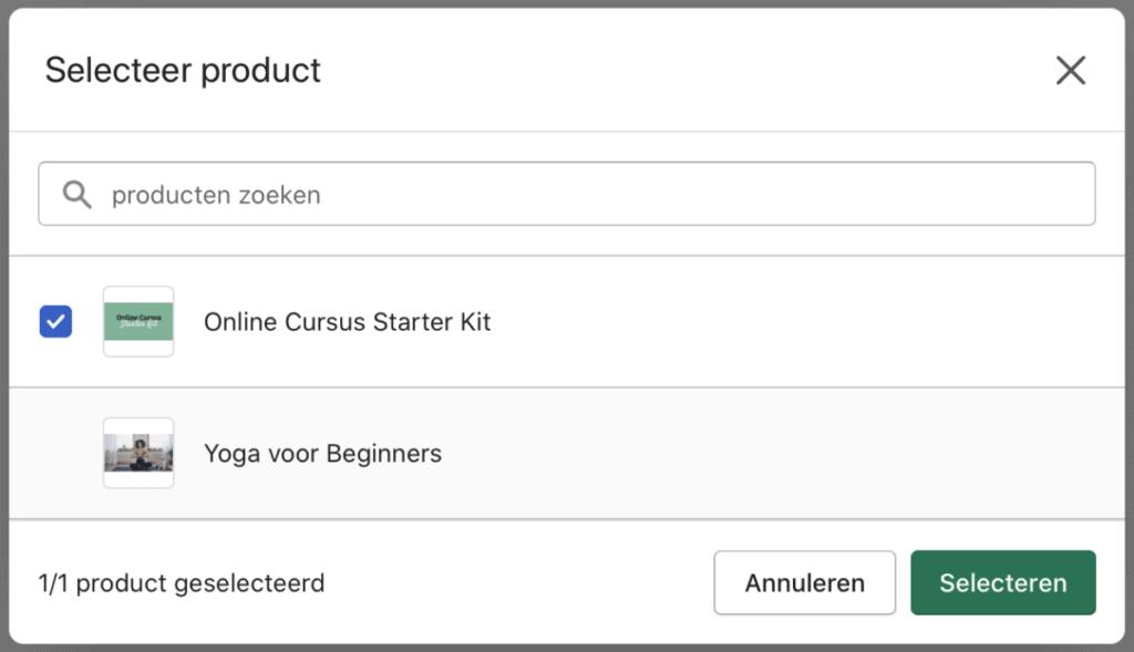 Selecteer het Shopify product van jouw cursus