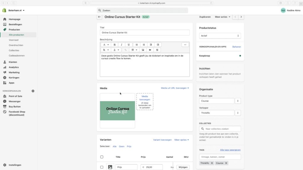 Het instellen van het Shopify product voor de Thinkific cursus verkoop