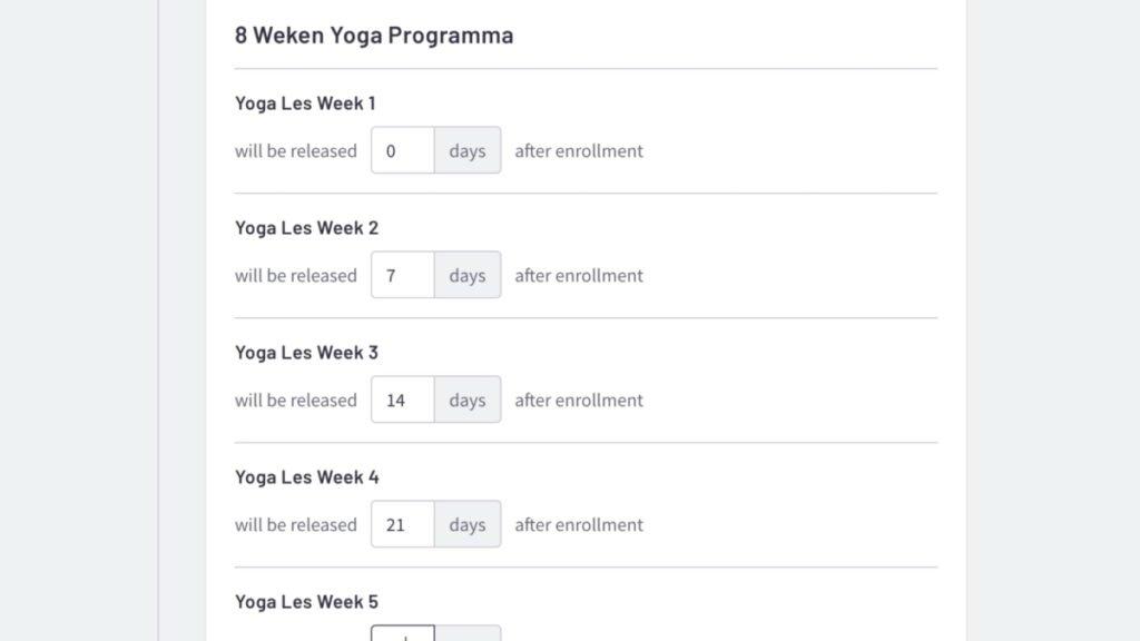 voorbeeld van het inplannen van lessen elke week een les in een 8 weken programma
