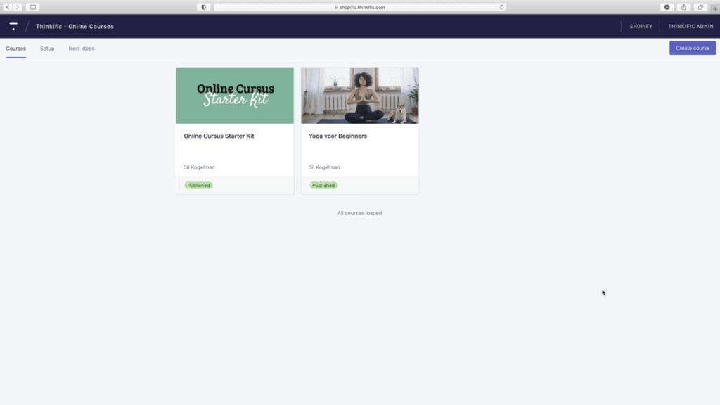 Thinkific Shopify app cursusoverzicht
