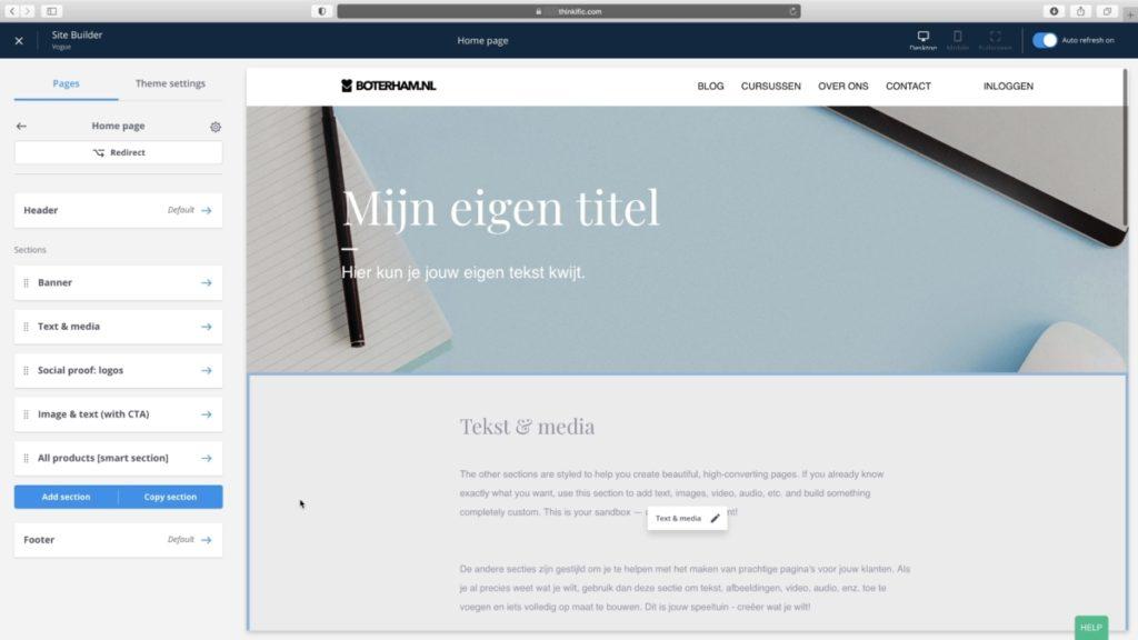 Thinkific site builder voorbeeld met blokken