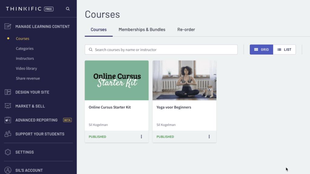 twee voorbeeld cursussen in het thinkific admin dashboard