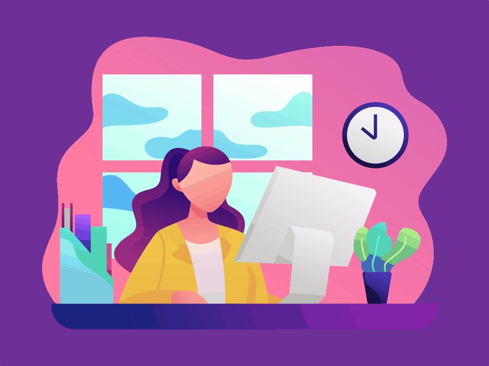 vrouw werken computer